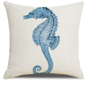 Seahorse Cushion in Navy, Blue and Off White 45 cm x 45 cm