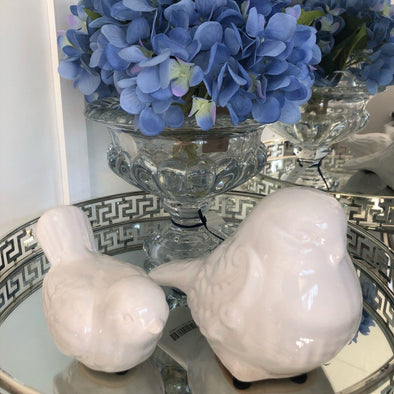 Set of 2 White Ceramic Birds