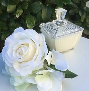 Candle in Square Fluted Crystal Trinket Box - French Pear