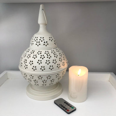 Lace-cut Metal Lantern - White - 35 cm and 12.5 cm LED Pillar Candle with Remote
