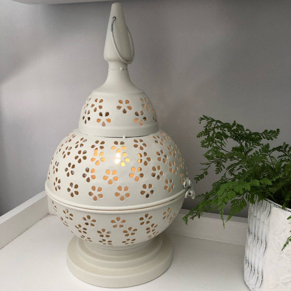 Lace-cut Metal Lantern - White - 35 cm
