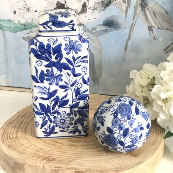 Set of 2 Blue and White Vintage Floral Ceramic Decor Pieces