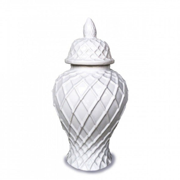 White Temple Ginger Jar with Diamond Embossed Design - 40 cm