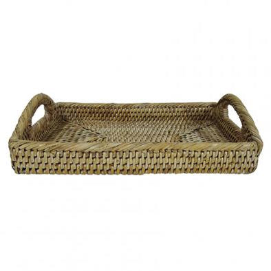 White Wash Rattan Tray