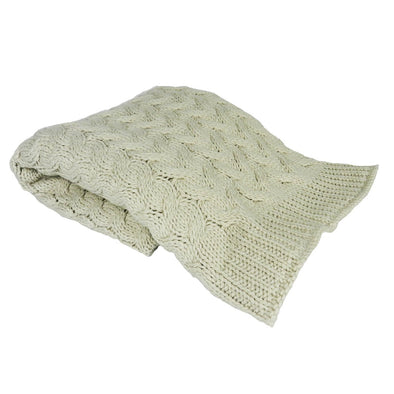 Natural Cream Cable Knit Throw Blanket