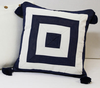 Navy and White Stripe Cushion Cover with Tassels - Mode