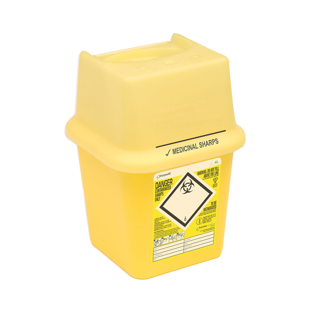 Sharps Bin - Yellow - 4Ltr - Square