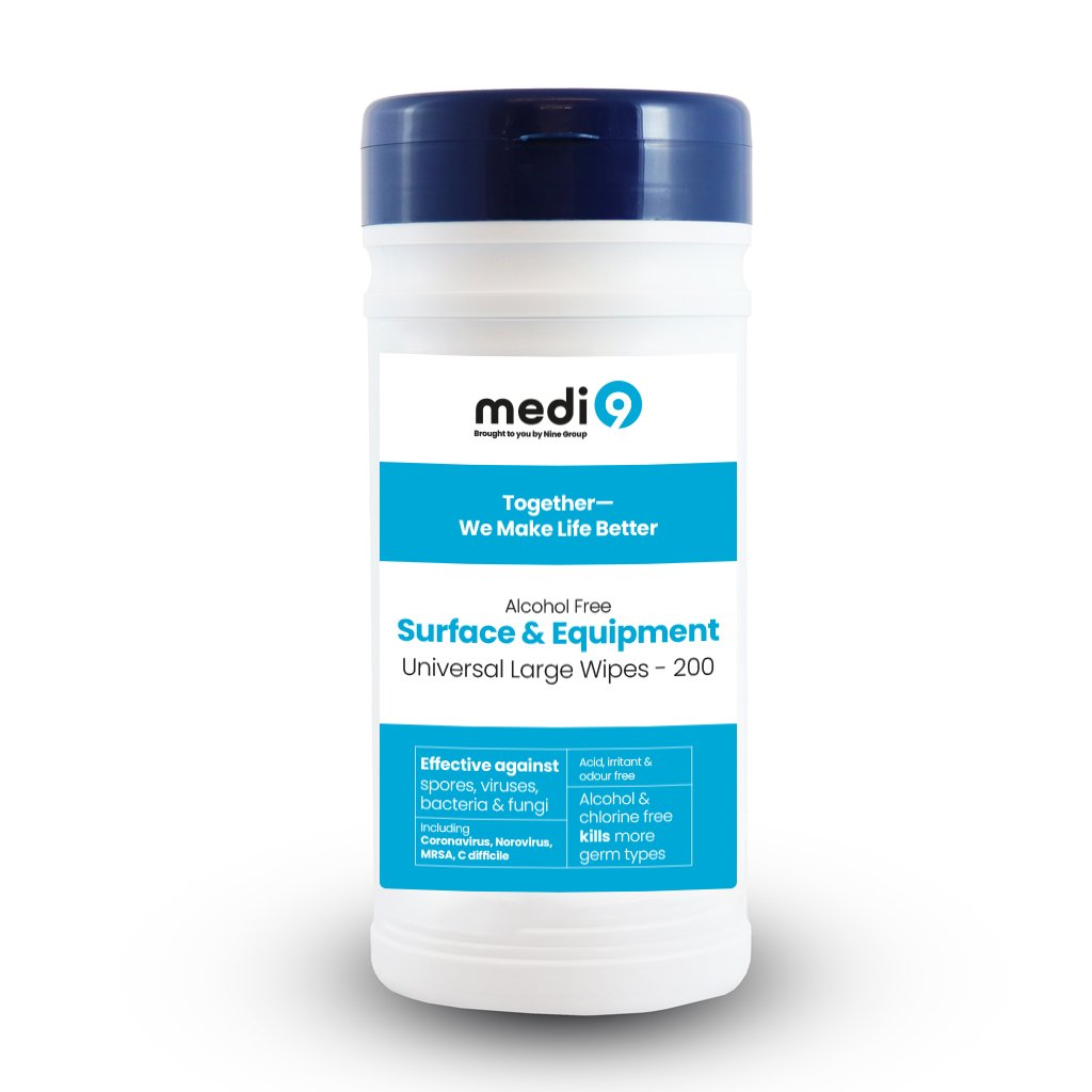 Medi9 Large Surface / Instrument Wipes - 200