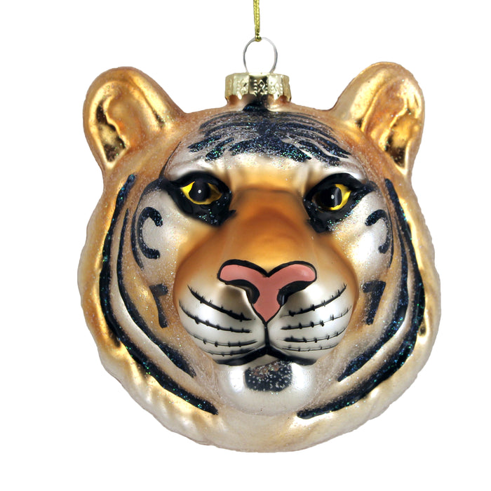 Painted Glass Tiger Head Dec