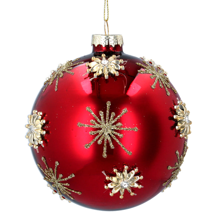 Laq Red Glass Ball w Gold Raised Stars, Lge