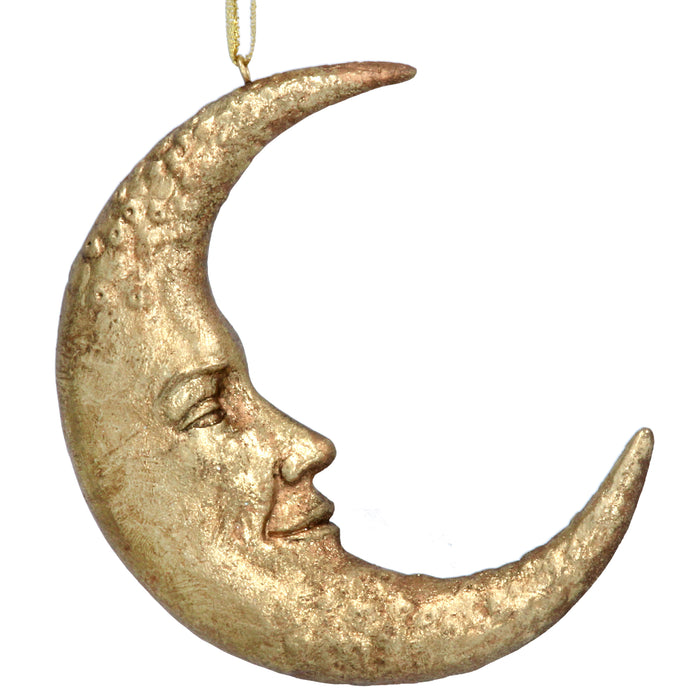 Antique Gold Resin Moon Face Dec