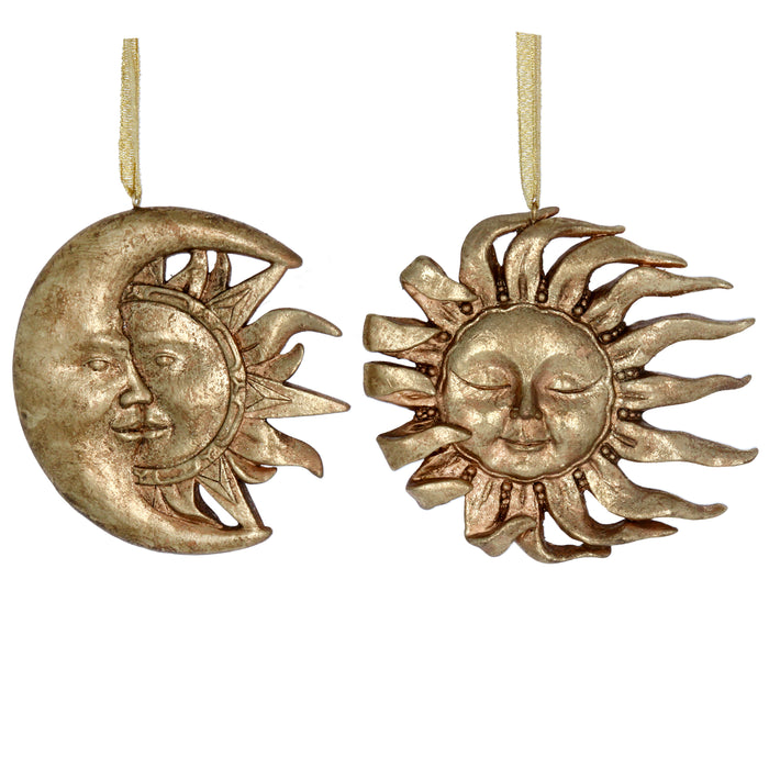 Antique Gold Sun/Moon Face Dec, 2as