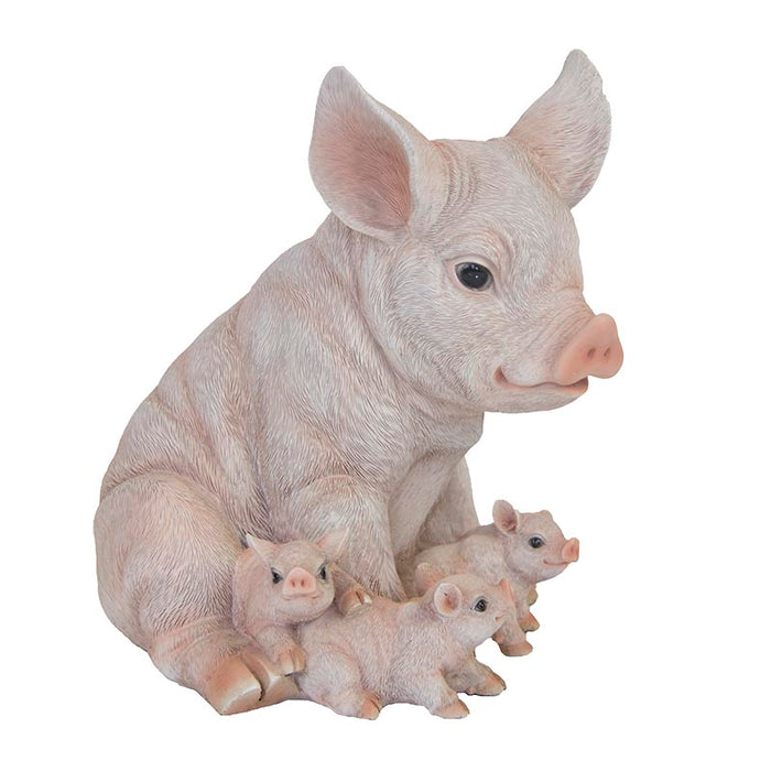 37000395 - PIG WITH PIGLETS SITTING