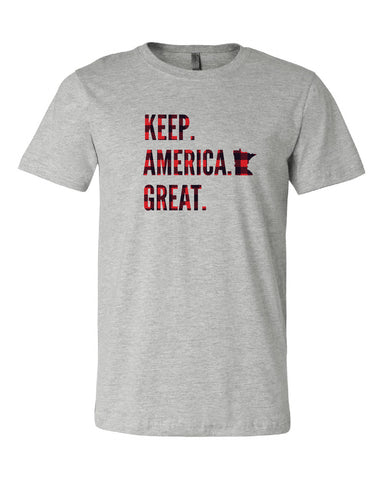 Keep America Great Buffalo Check Grey Tee