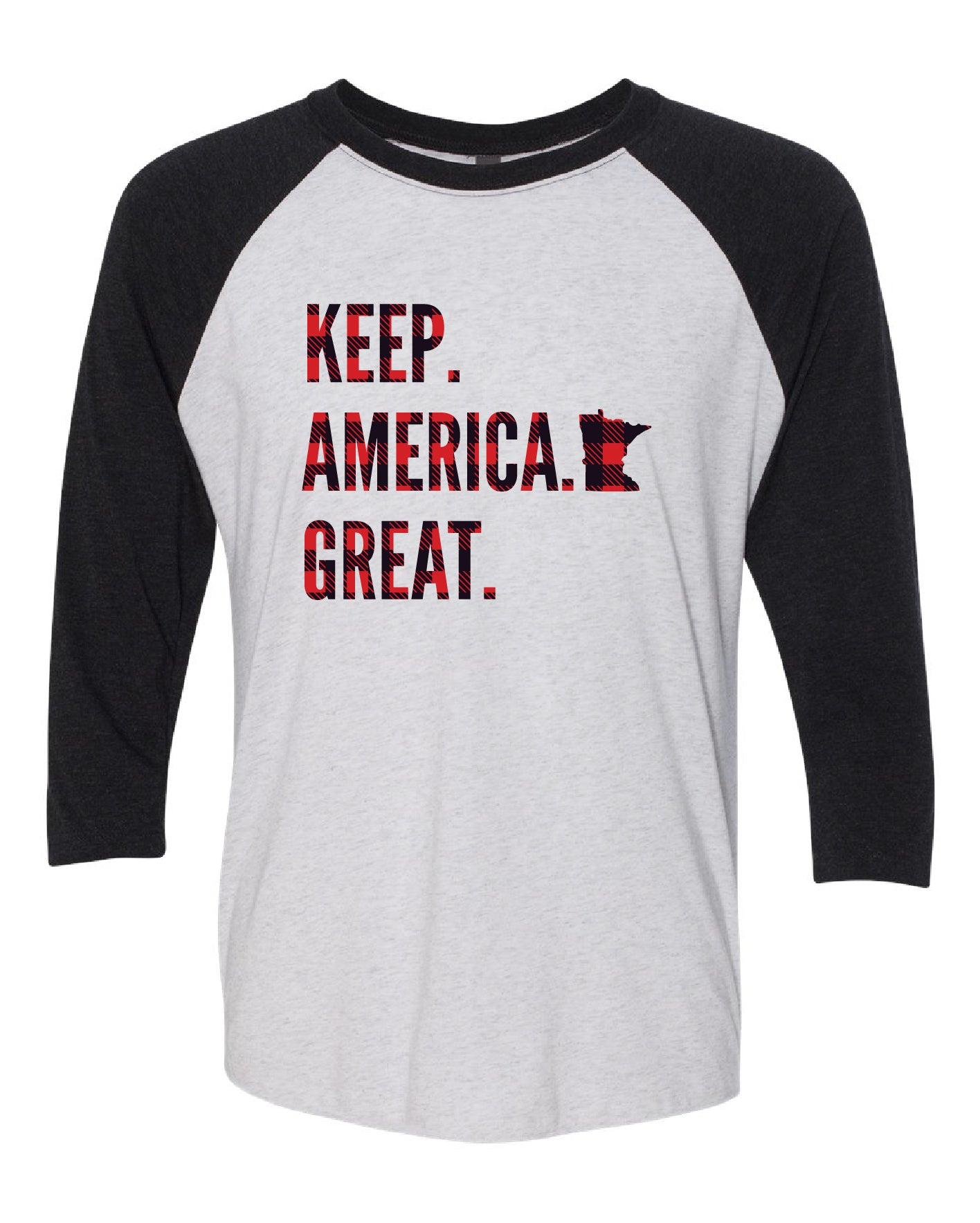 Keep America Great Buffalo Check Baseball Tee
