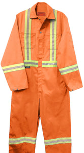 "Cotton Coveralls with 2"" Reflective Tape & Metal Button Closure"