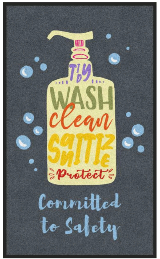 Wash Clean Sanitize COVID Message Mat (3x5 Vertical)