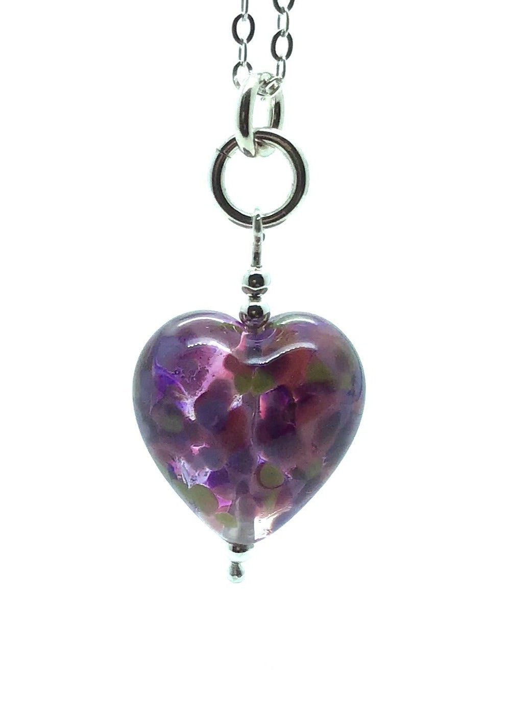 Happy Glass Heart in Lilac