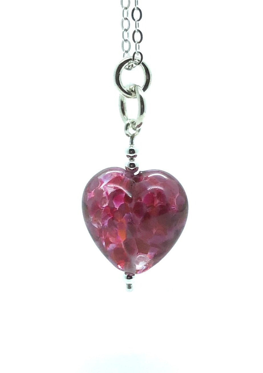 Happy Glass Heart in Sweet Pea