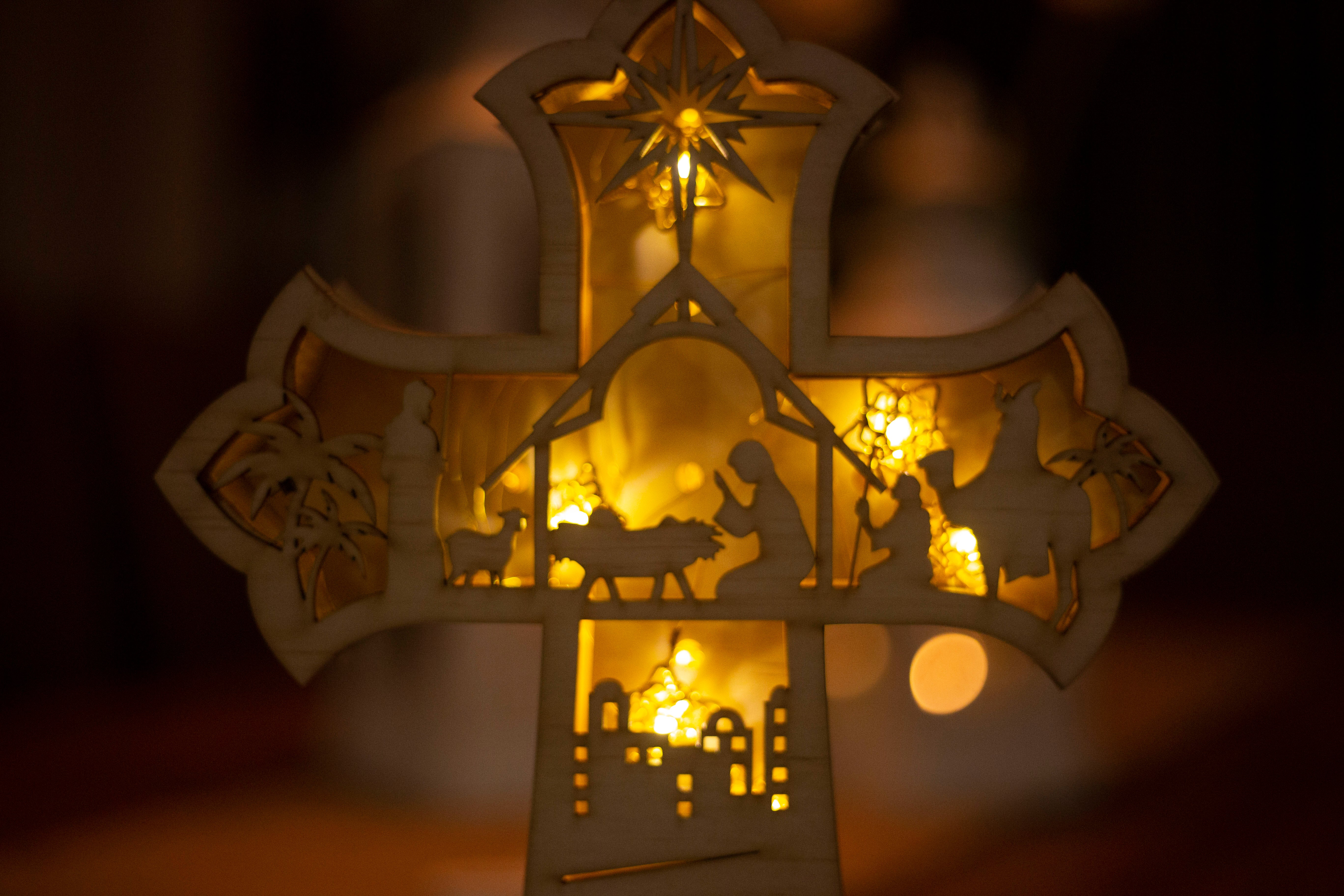 3D Christmas Pop Up Nativity Cross