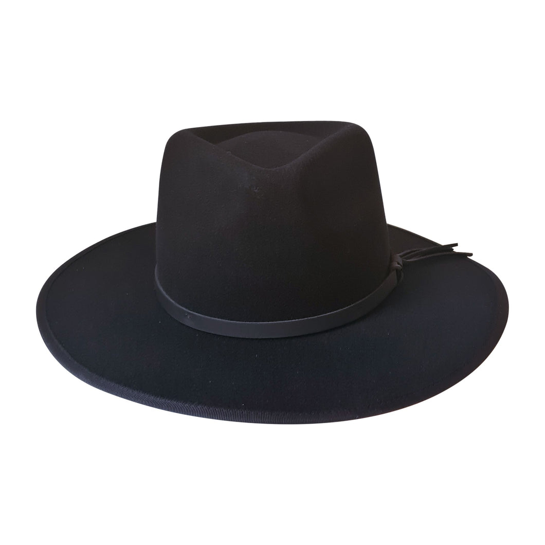 Willow wide brim Fedora Hat in Black