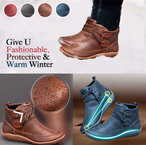 Shock Absorbent Leather Flat Boots