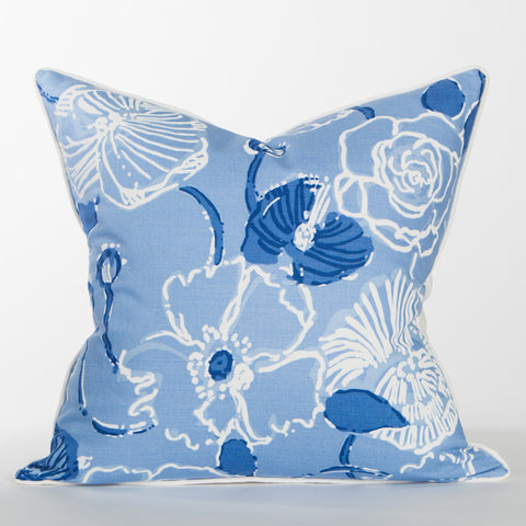 Blue Hibiscus Pillow - Sanibel Collection