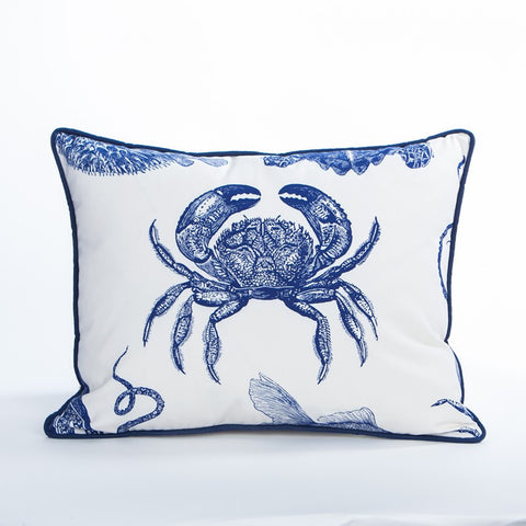 Crab Pillow / Indigo - Newport Collection