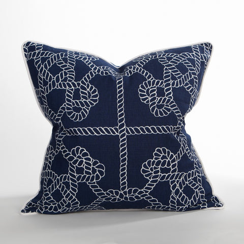 Tied Knots Pillow/ Blue - Newport Collection