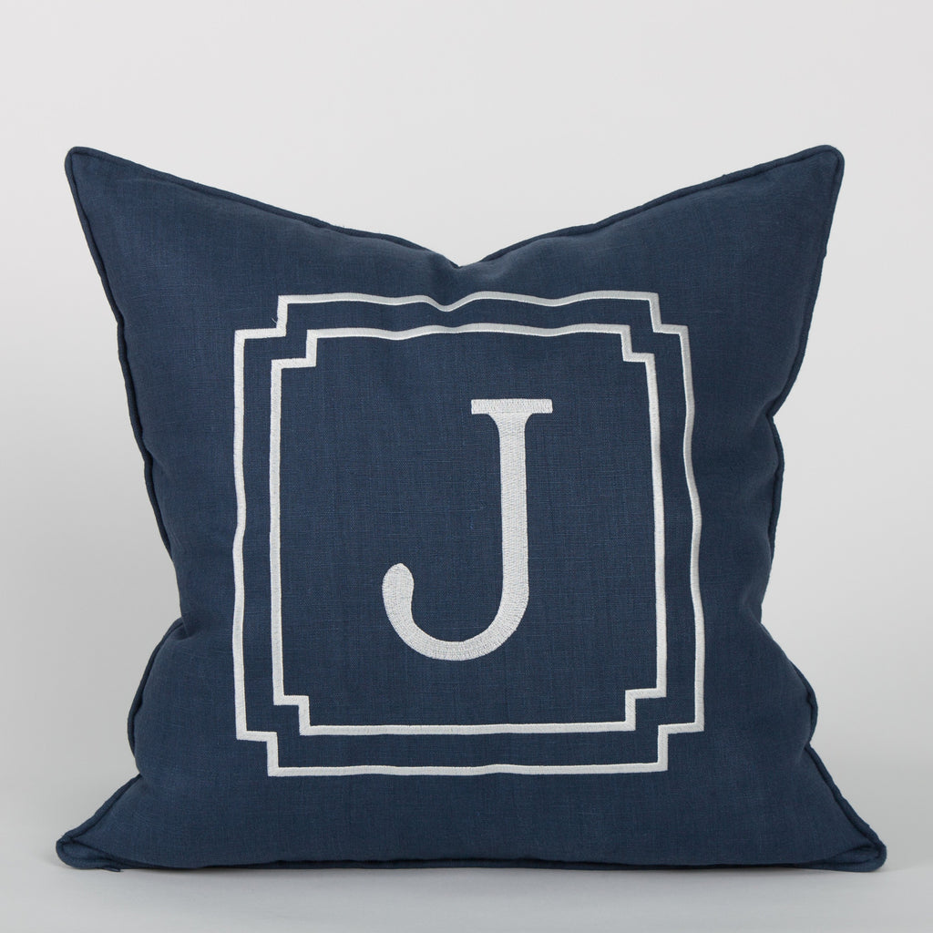 Monogram Pillow in Navy