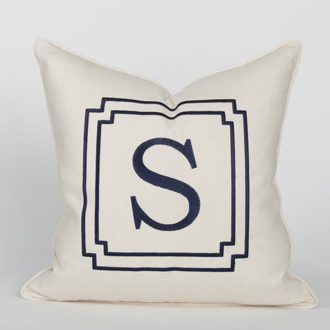 Monogram Pillow in Ivory with Navy