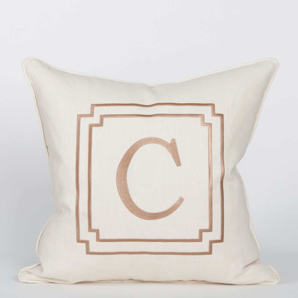 Monogram Pillow in Ivory w/Camel