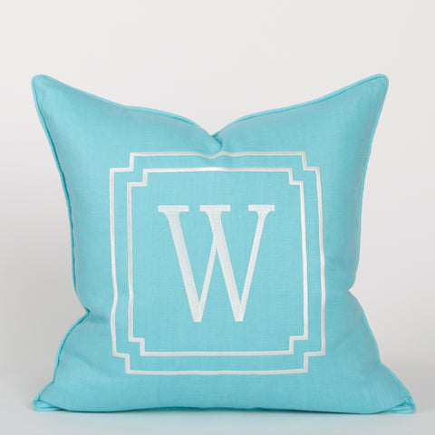 Monogram Pillow in Turquoise