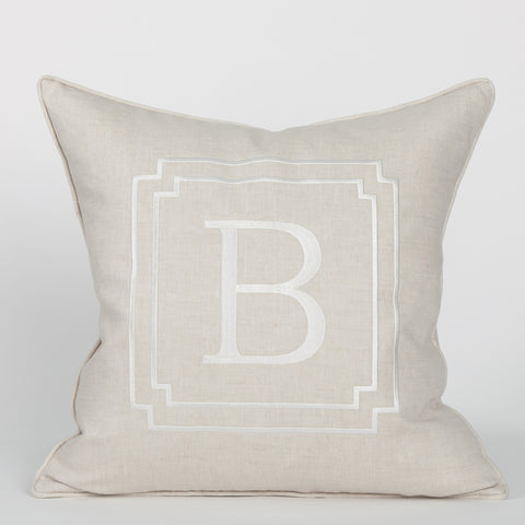 Monogram Pillow in Flax