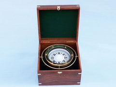 Solid Brass Gimbal Compass w/ Rosewood Box 9
