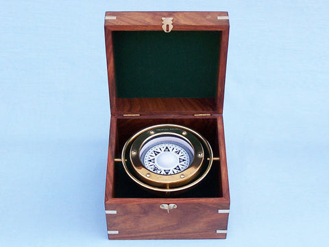 Solid Brass Gimble Compass w/ Rosewood Box 6