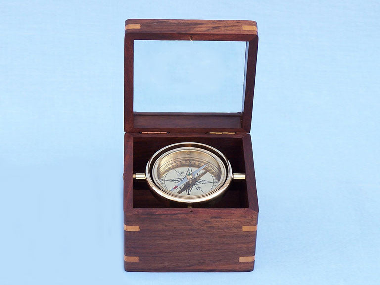 Solid Brass Lifeboat Compass w/ Rosewood Box 5