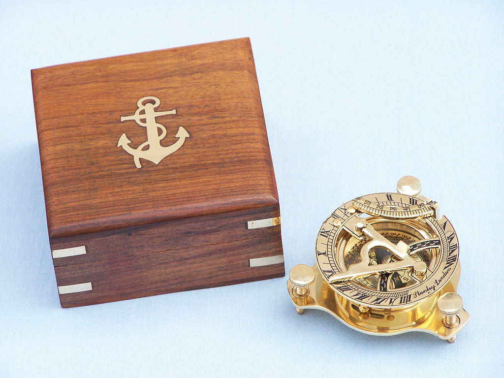 Solid Brass Captain's Triangle Sundial Compass w/ Rosewood Box 3