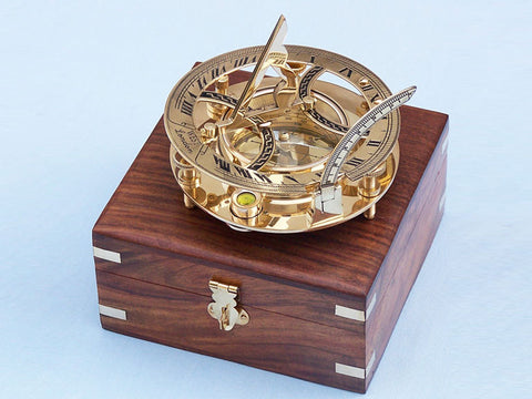 Solid Brass Round Sundial Compass w/ Rosewood Box 6