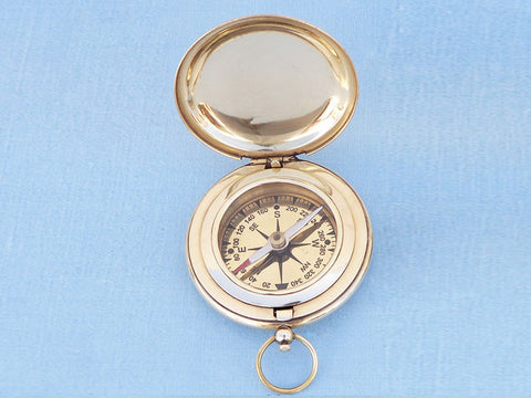 Solid Brass Captain's Push Button Compass 3