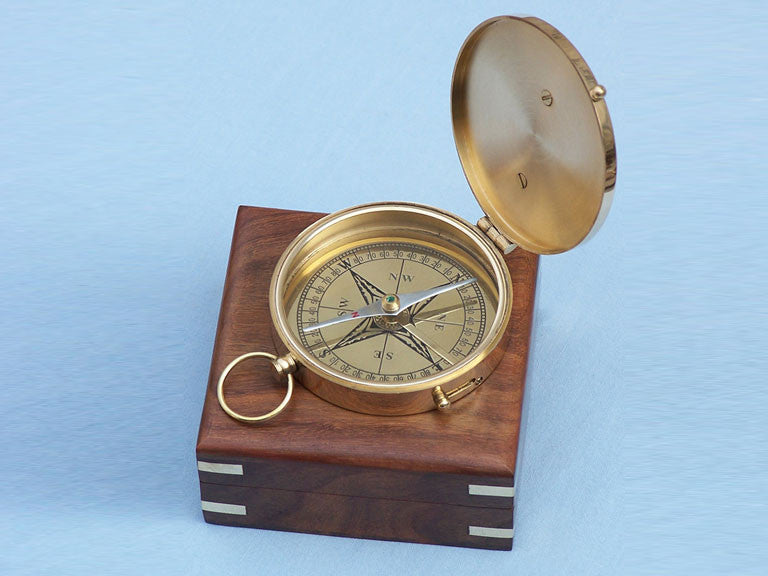 Solid Brass Admiral's Sundial Compass w/ Rosewood Box 4