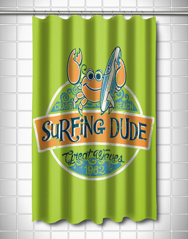 Crab Surfing Dude Shower Curtain
