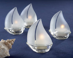 Set Sail Frosted Glass Sailboat Tealight Holders, Set of 4