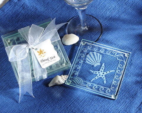 Shell and Starfish Frosted Glass Coasters Set of 4