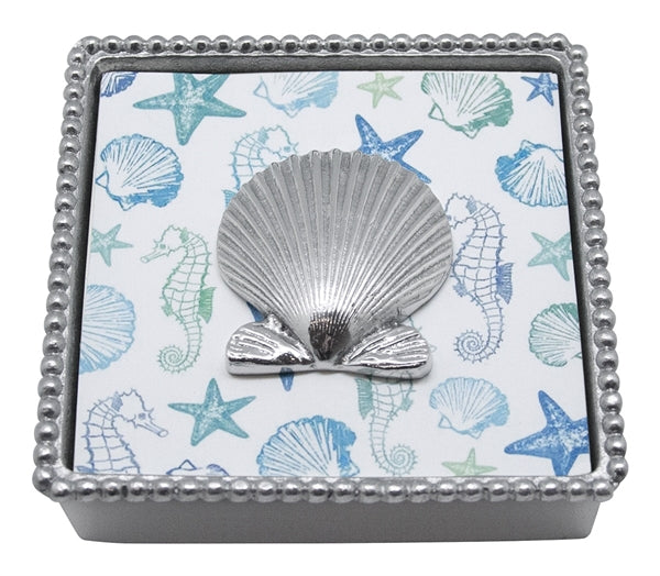 Scallop Shell Beaded Napkin Holder
