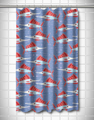 Sailfish School Coral Shower Curtain