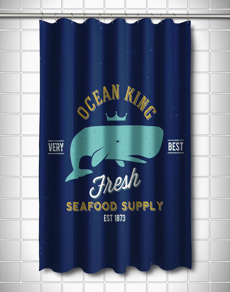 Ocean King Whale Shower Curtain