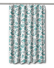 Aqua Shells Shower Curtain