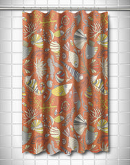 Sea Life Rust Shower Curtain