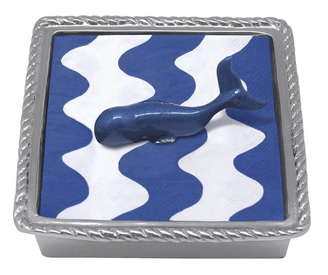 Cobalt Whale Rope Napkin Holder